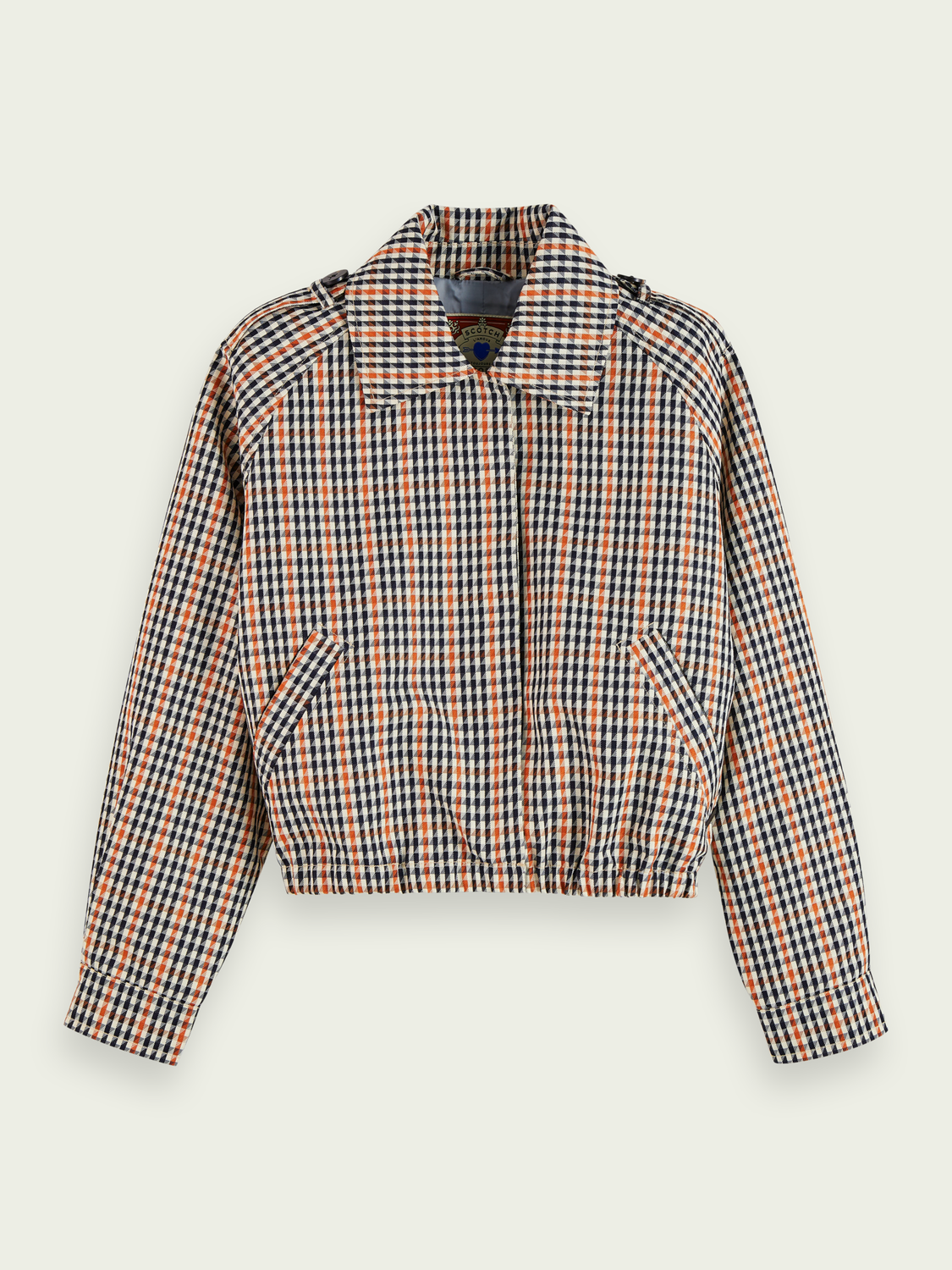 Women Cropped long sleeve houndstooth checked jacket