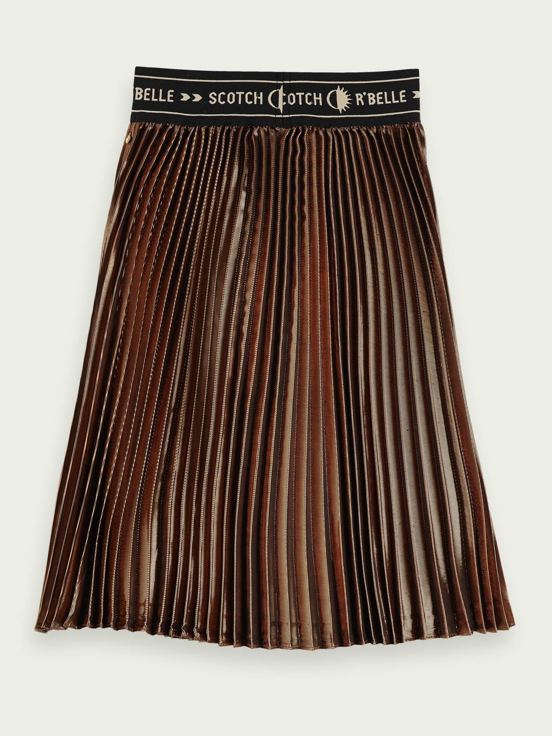 Kids Gold pleated midi skirt