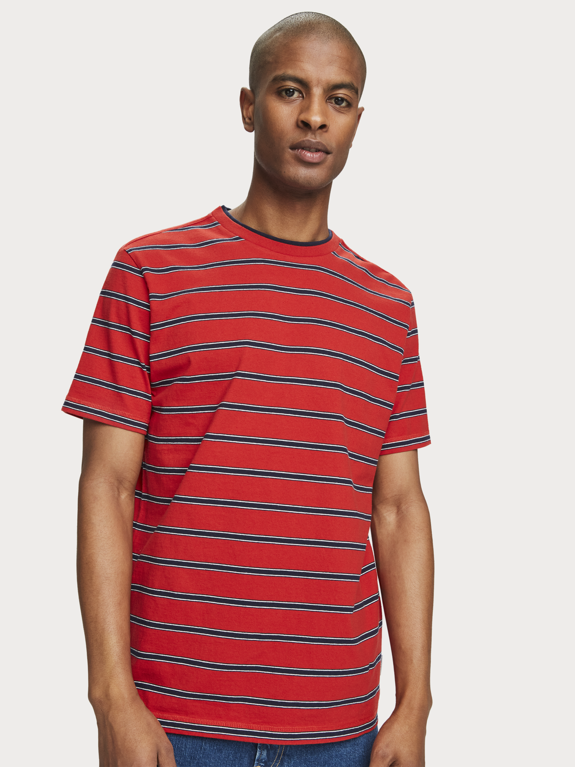 Hombre 100% cotton striped short sleeve t-shirt