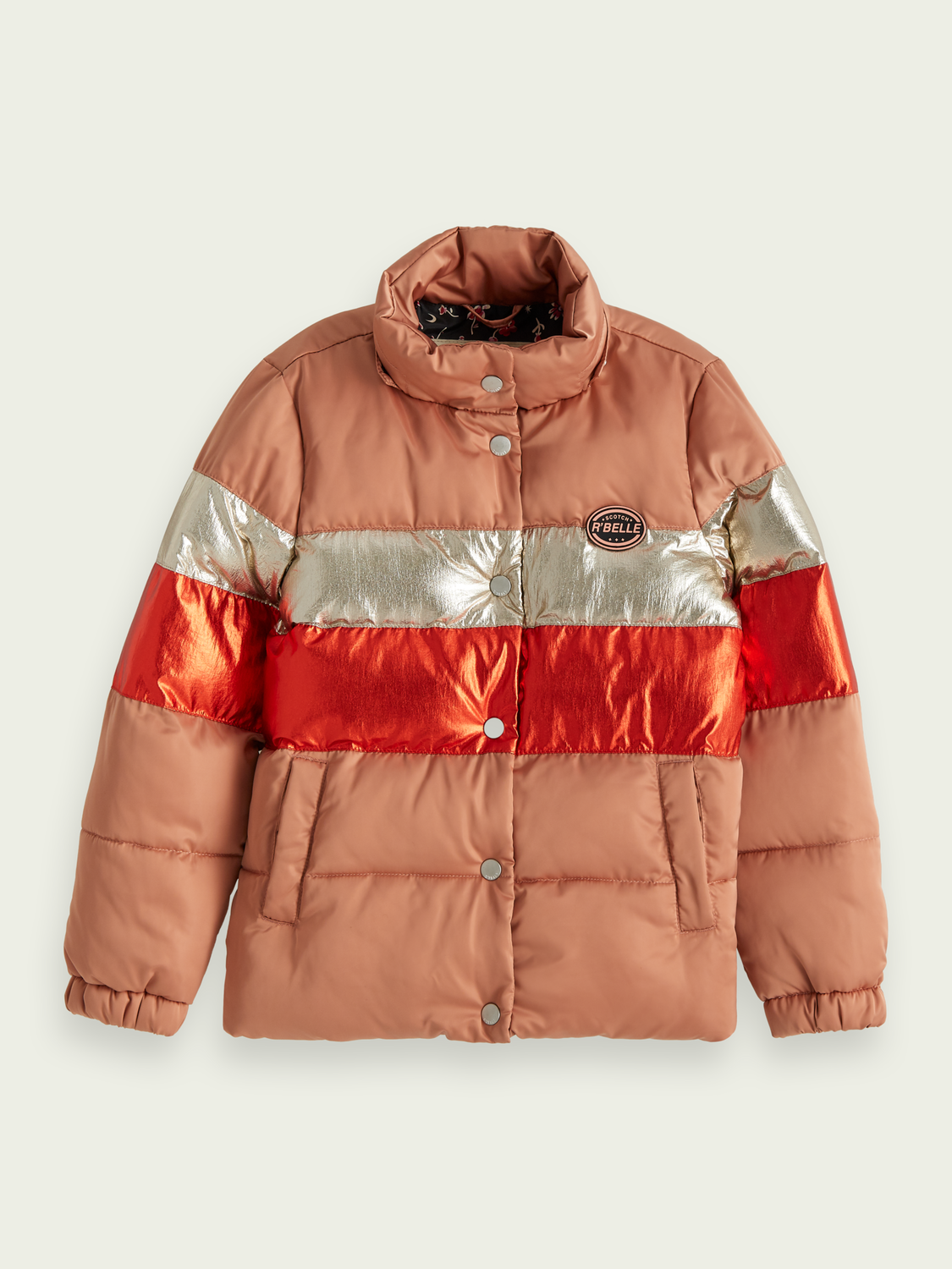 Girls Metallic detail puffer jacket