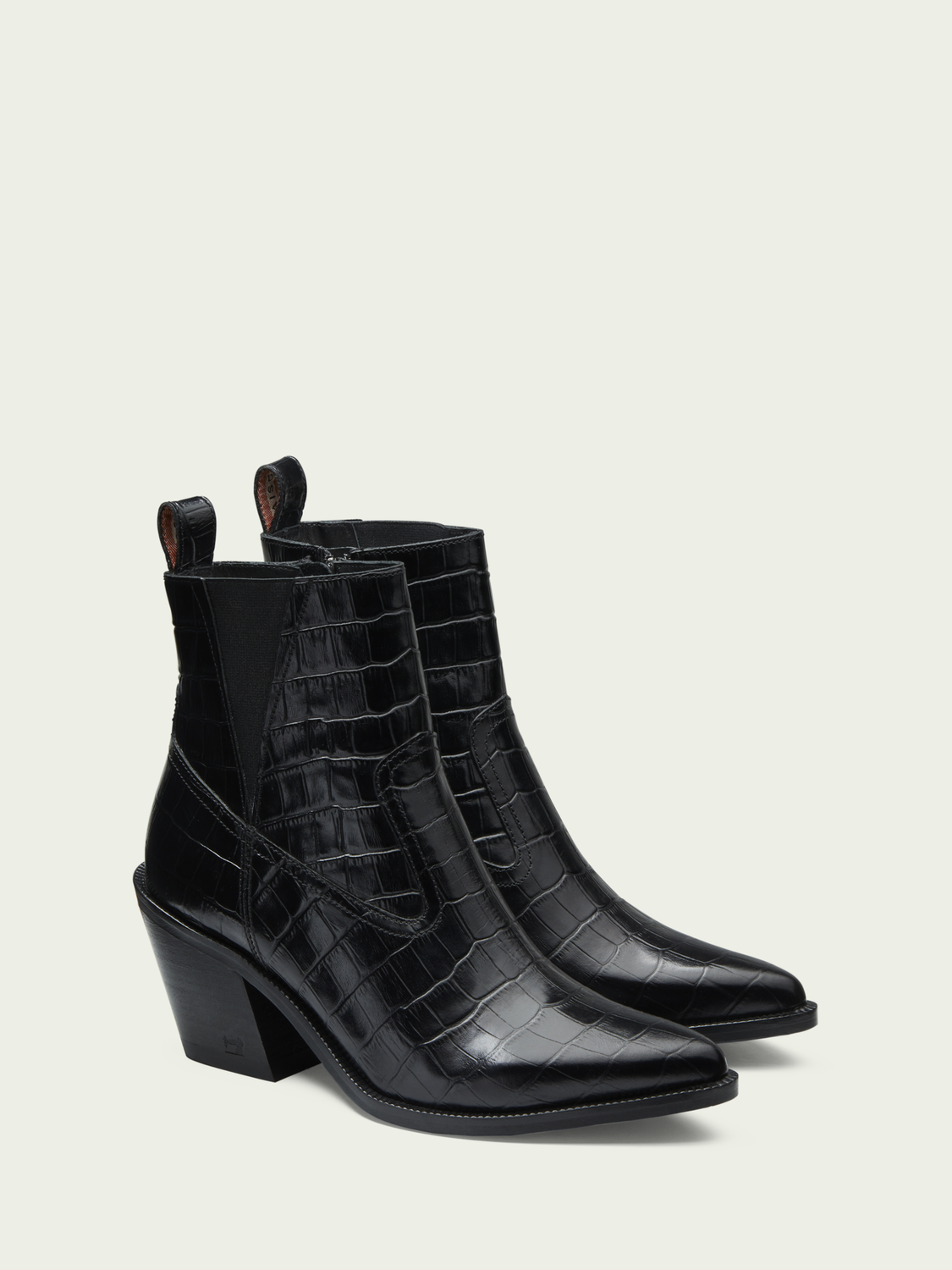 Women Abbey - leather croc-effect ankle boots