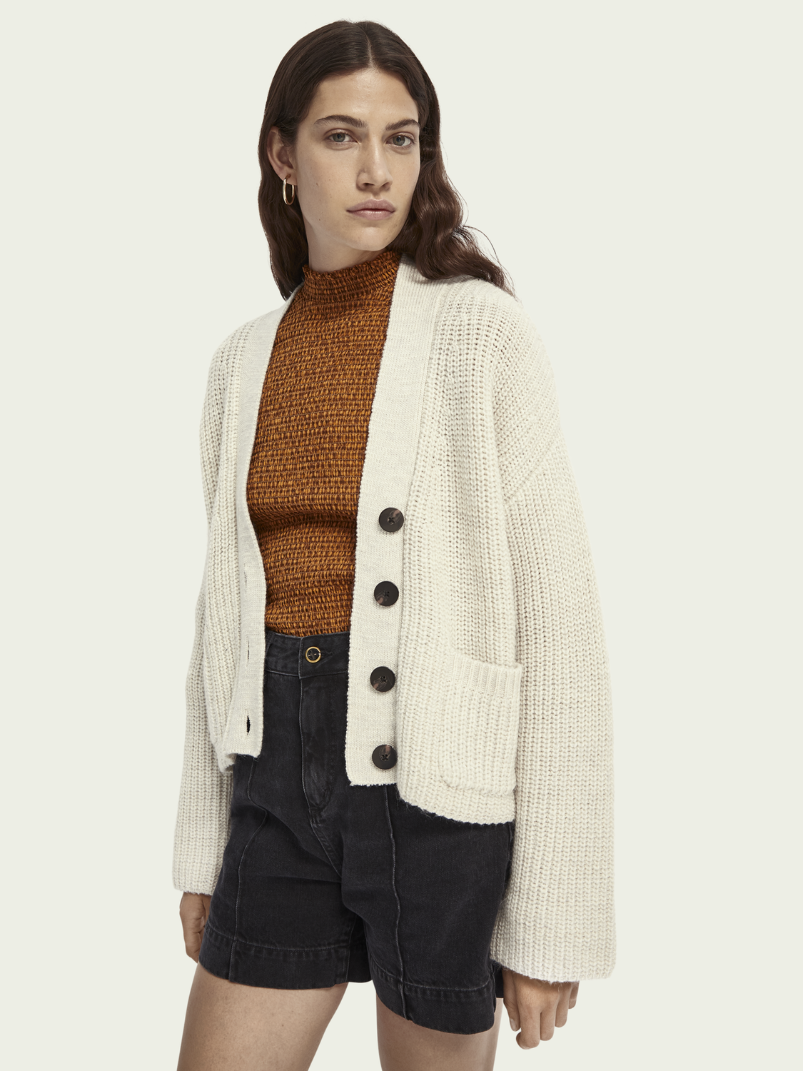 Women Rib knit wool-Alpaca blend cardigan