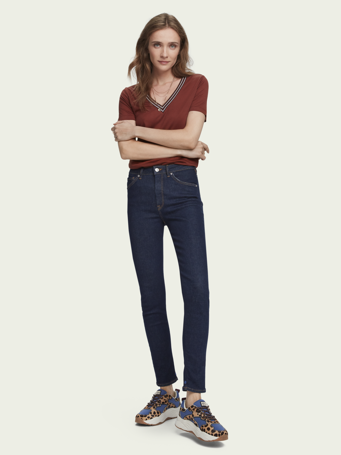 Dames Haut - French Blue | High-rise skinny fit jeans