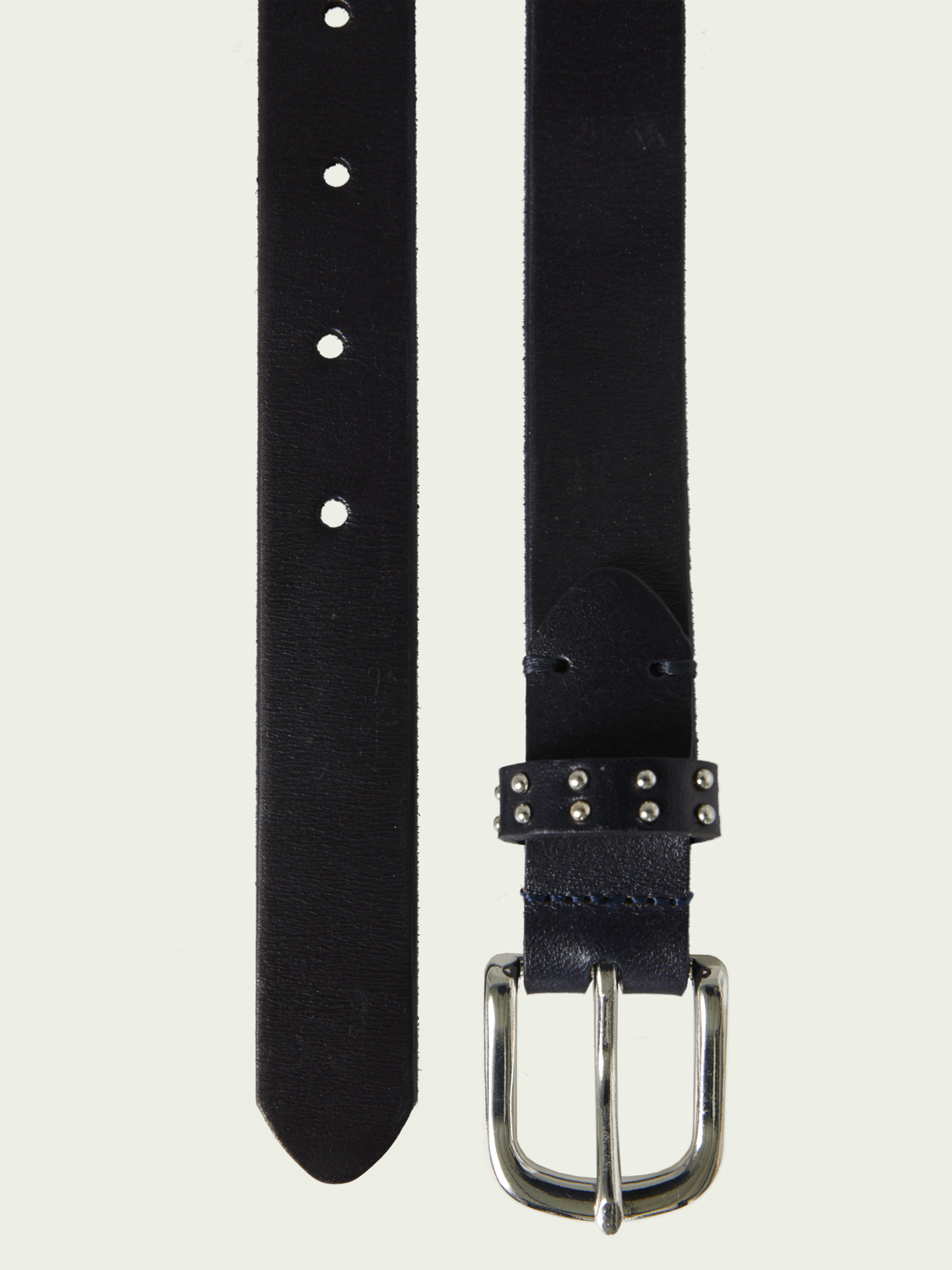 Women Braided leather belt with studs