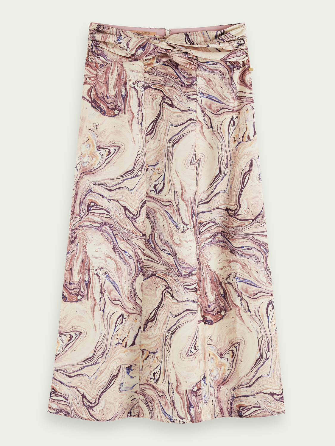 Women Satin feel knotted midi skirt