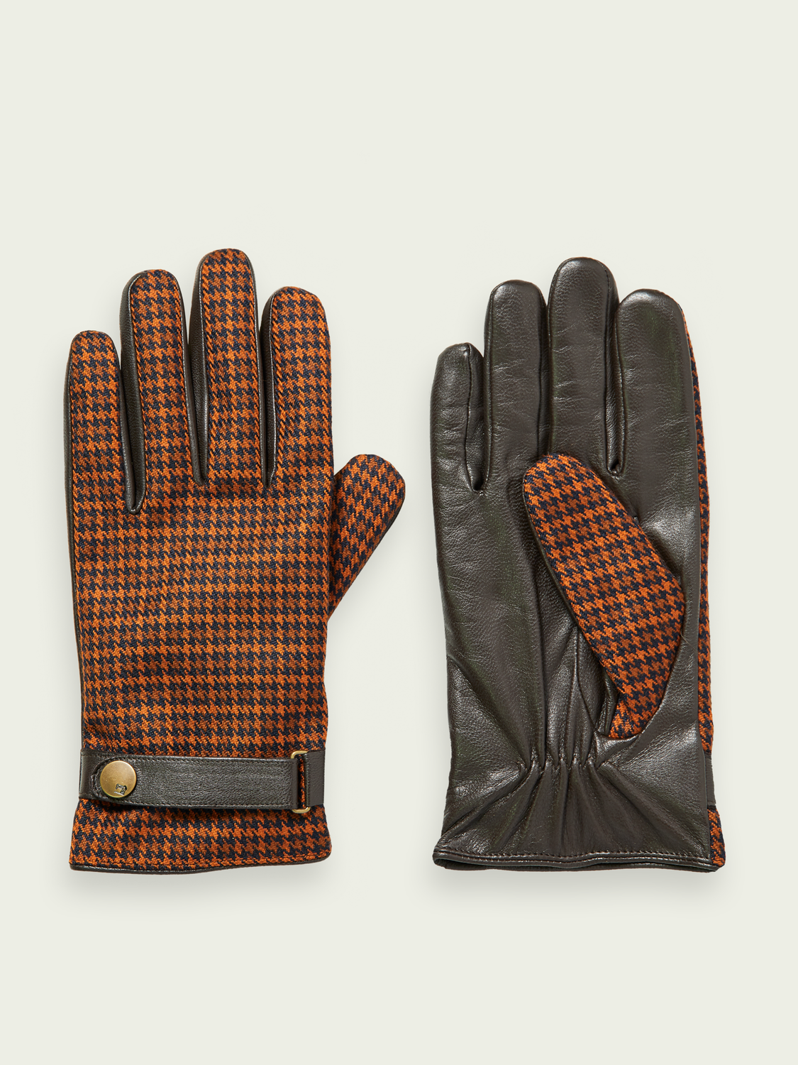 Men Checked wool blend gloves