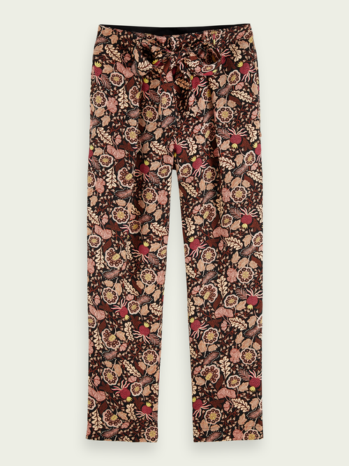 Scotch & Soda BELTED MID-RISE PRINTED PANTS