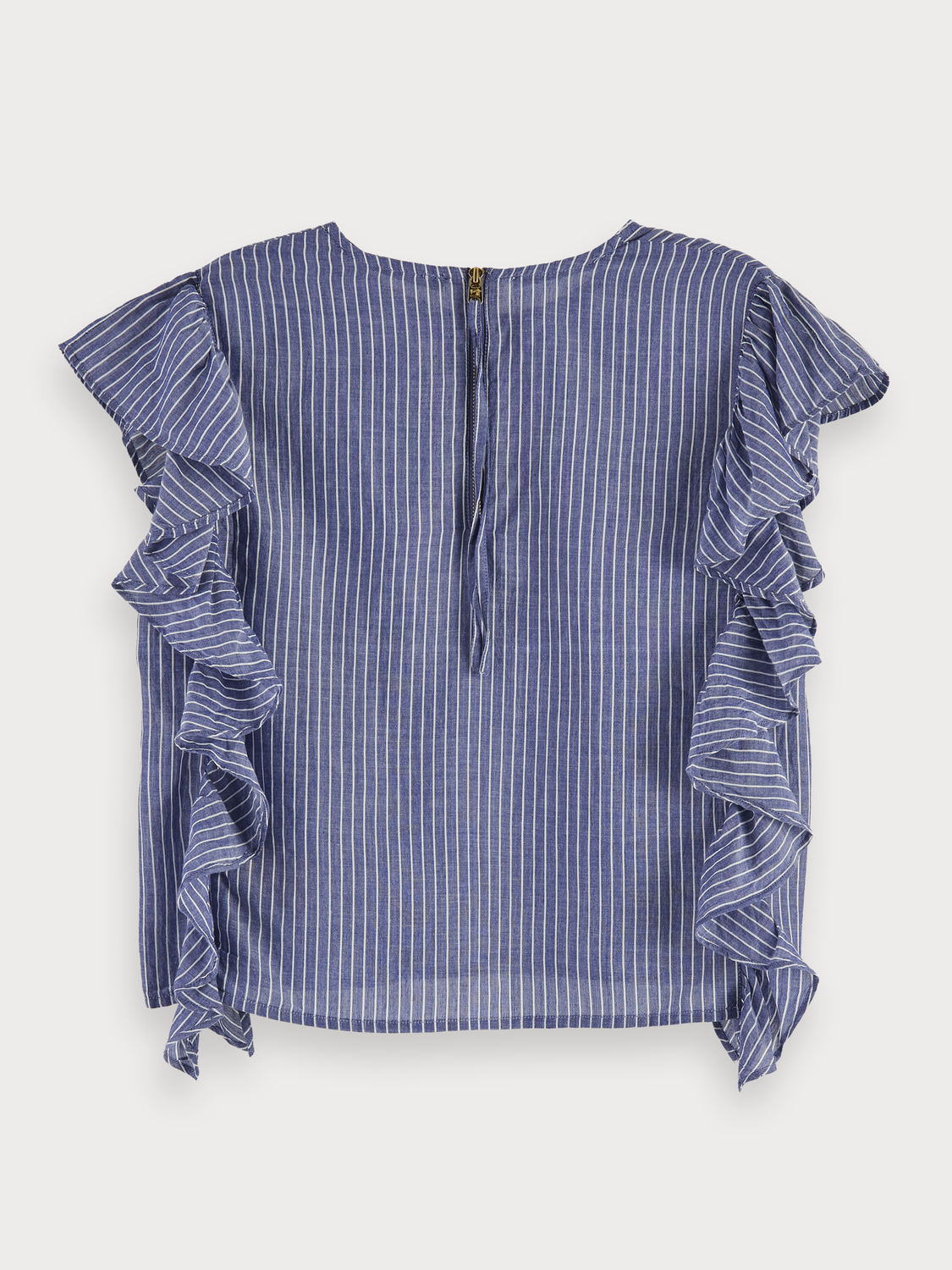 Mujer Cotton blend boxy fit striped ruffle top