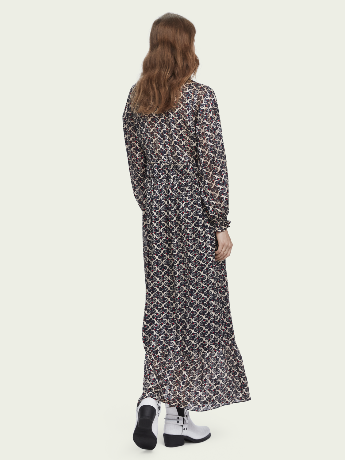 Women Sheer printed long sleeve V-neck maxi dress