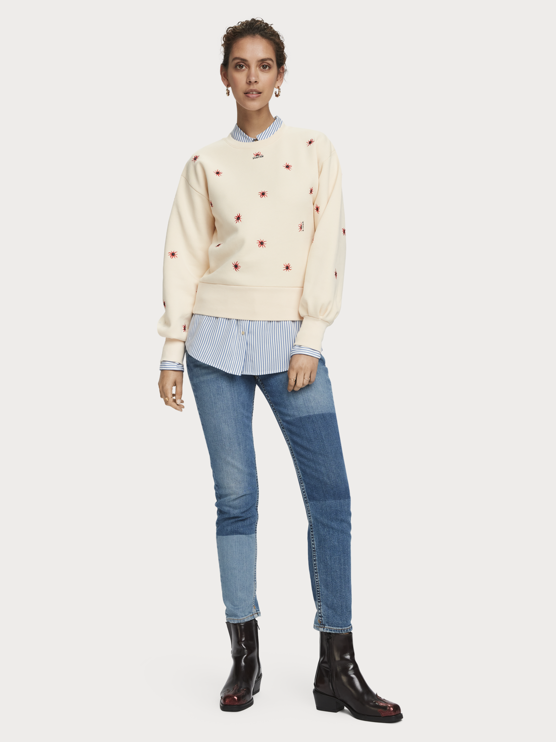 Dames Cotton blend embroidered puff sleeve sweatshirt