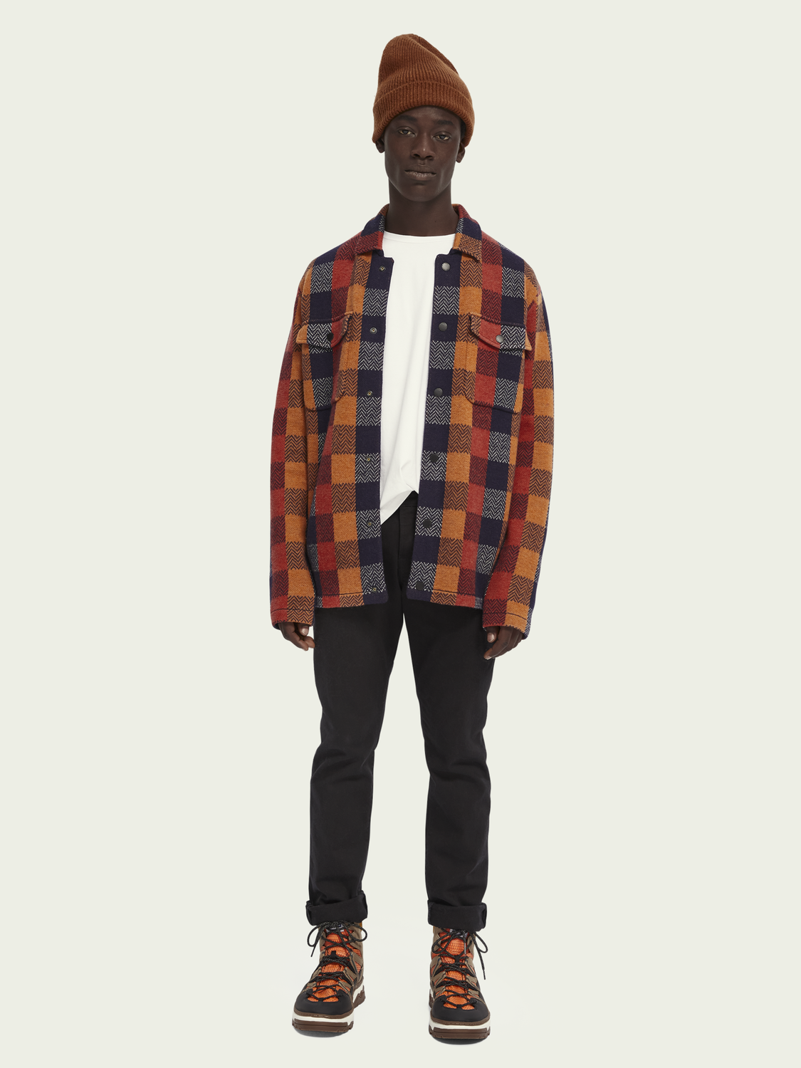 Men Checked worker shirt-jacket