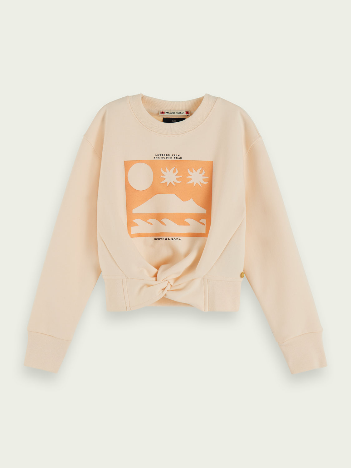 Kids Cotton-blend knot-front cropped sweatshirt