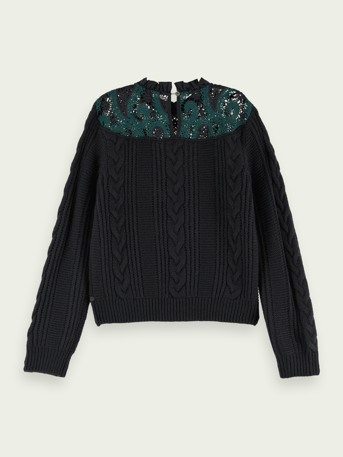 Women Wool-blend lace knit pullover