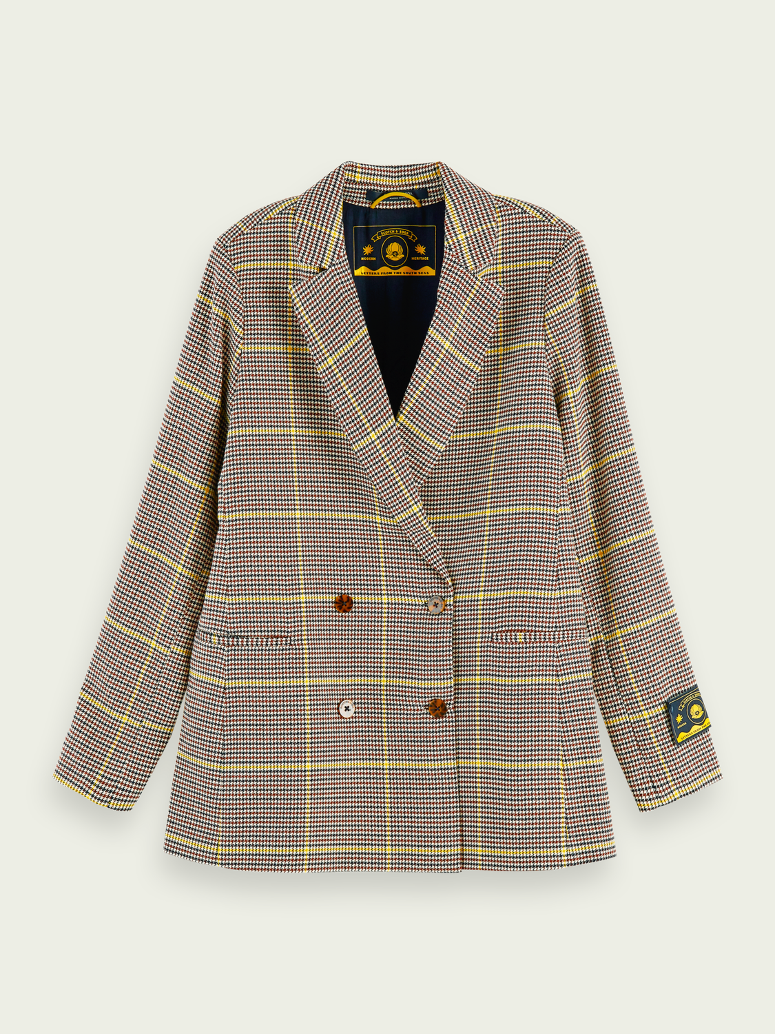 Women Longer-length checked double-breasted blazer