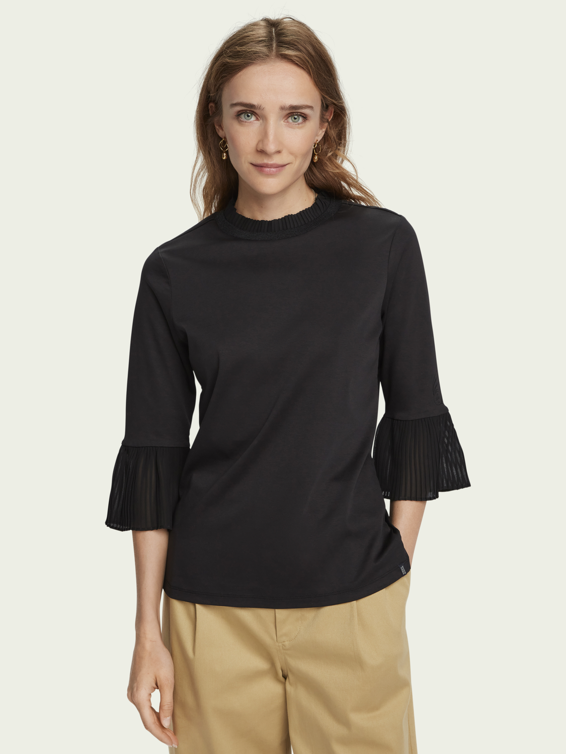 Women Pure cotton pleated sleeve top