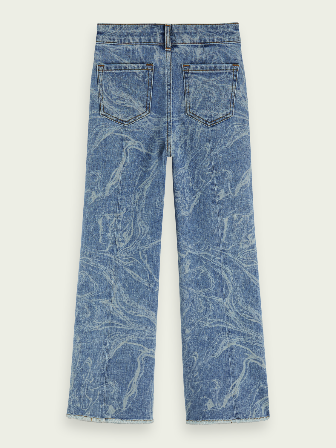 Kids High-rise wide leg marbled jeans