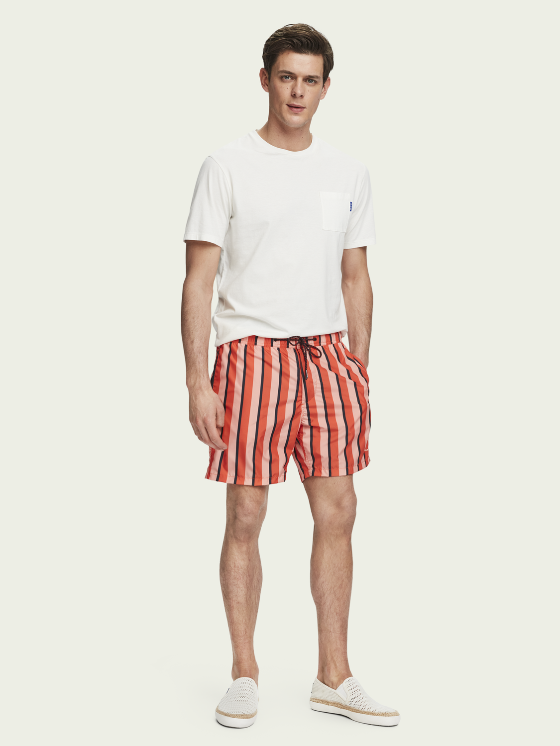 Men Lined printed swim shorts