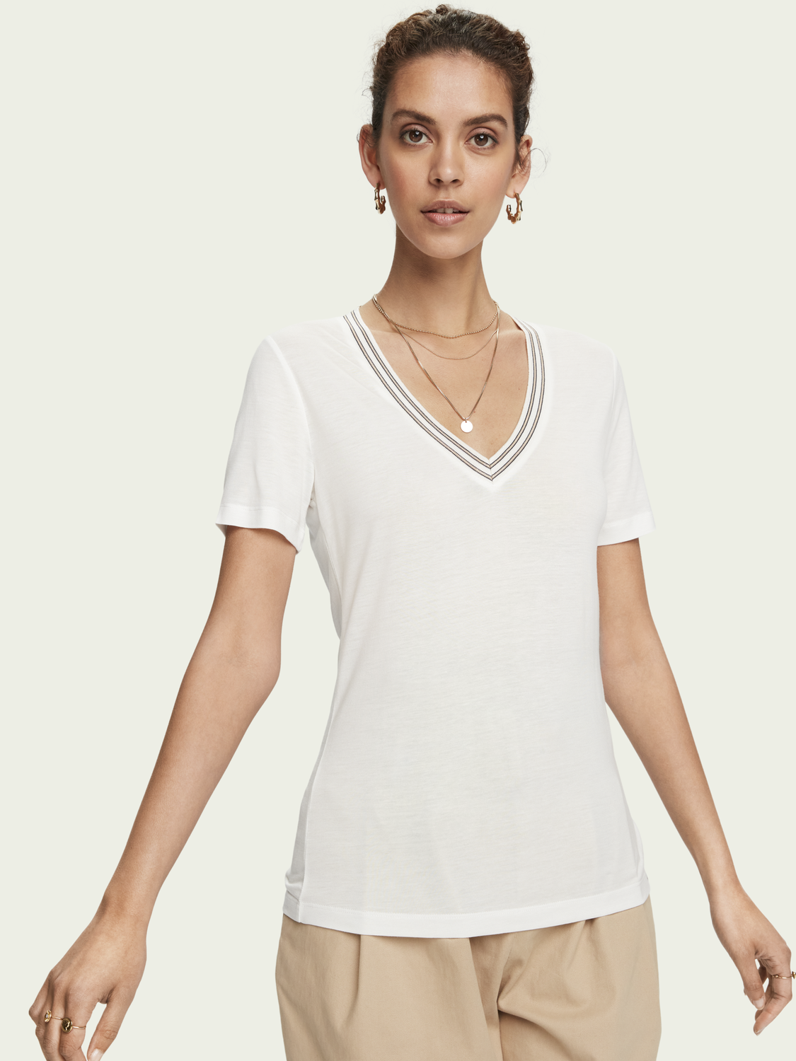 Women 100% TENCEL™ short sleeve V-neck t-shirt