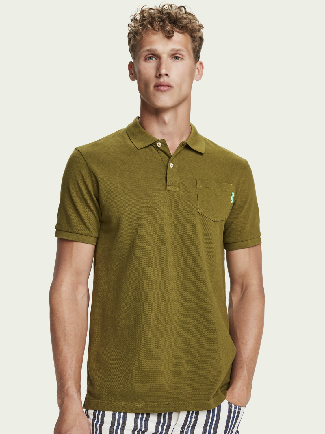 Men 100% cotton short sleeve polo shirt with pocket