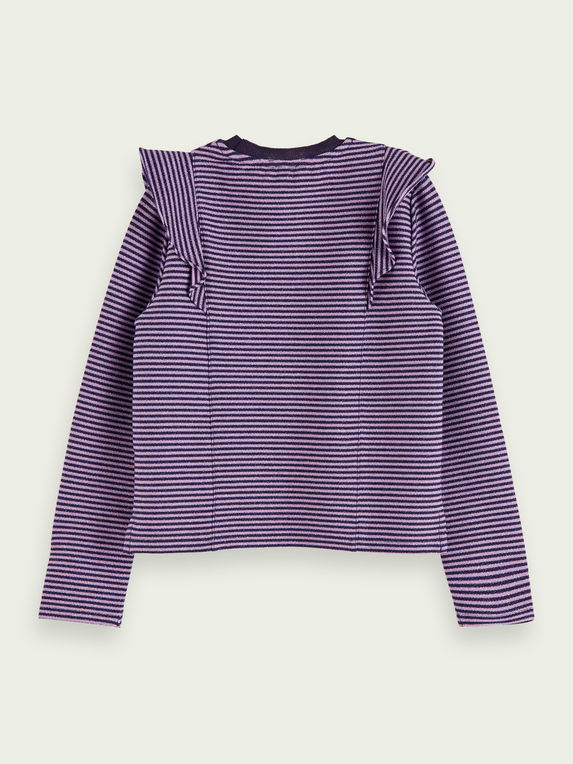 Girls Lurex long sleeve ruffle t-shirt