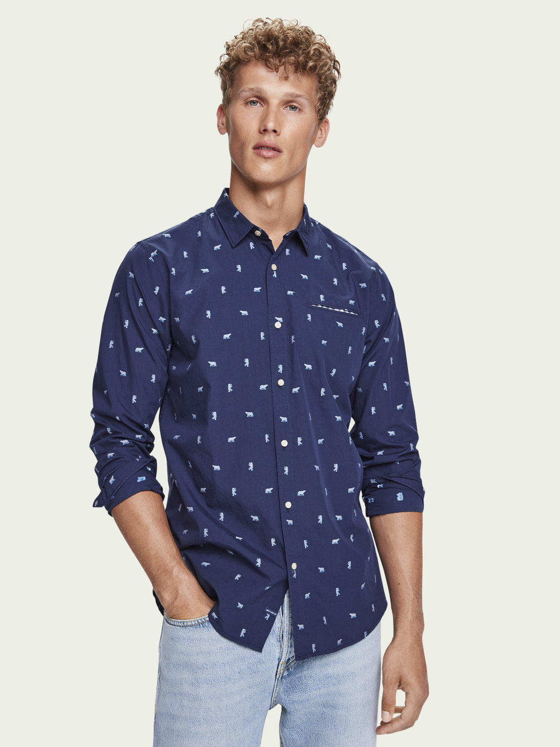 Men Embroidered chic pocket shirt