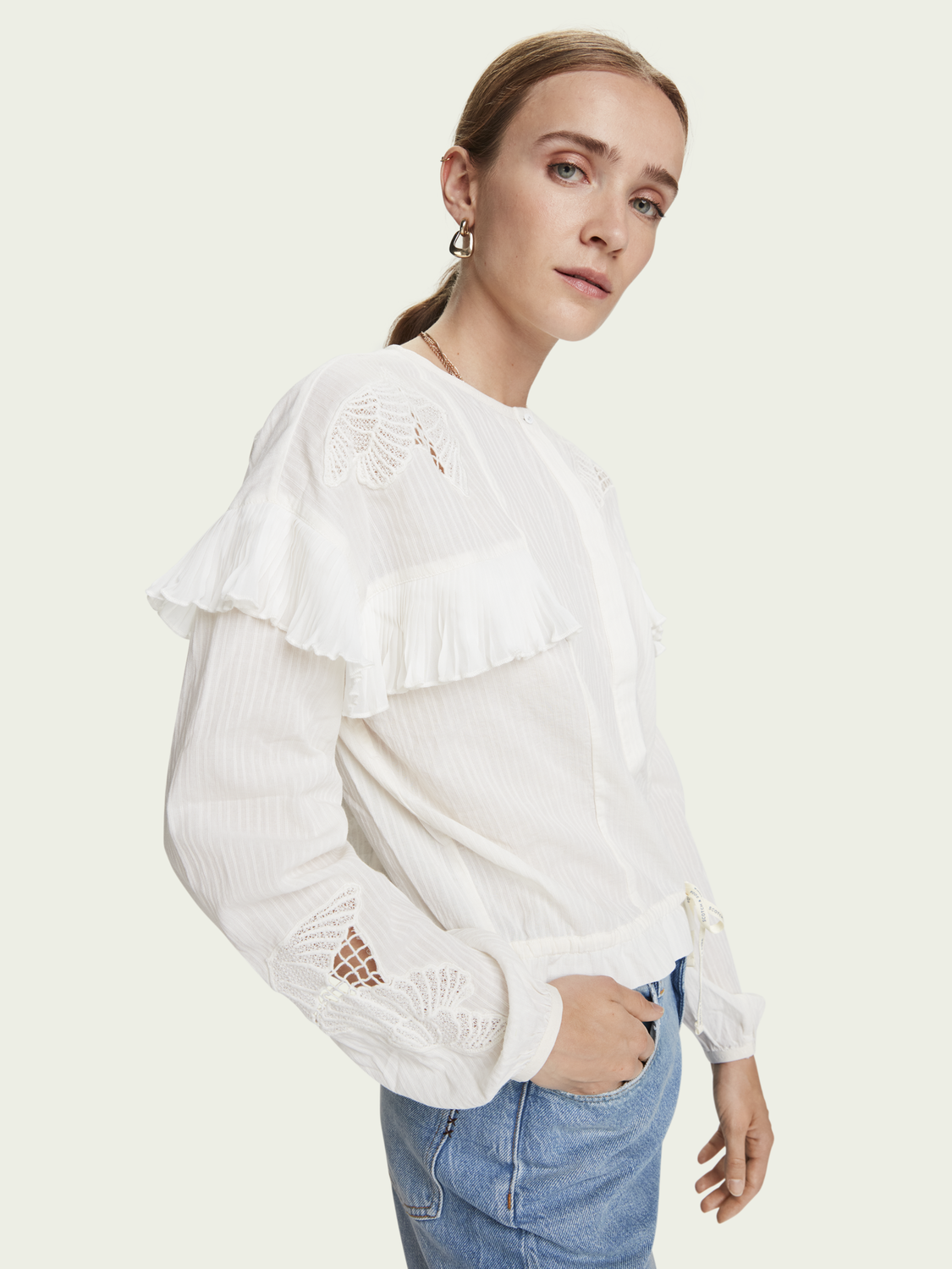 Damen Langärmliges Shirt mit Loose Fit aus 100 % Baumwolle