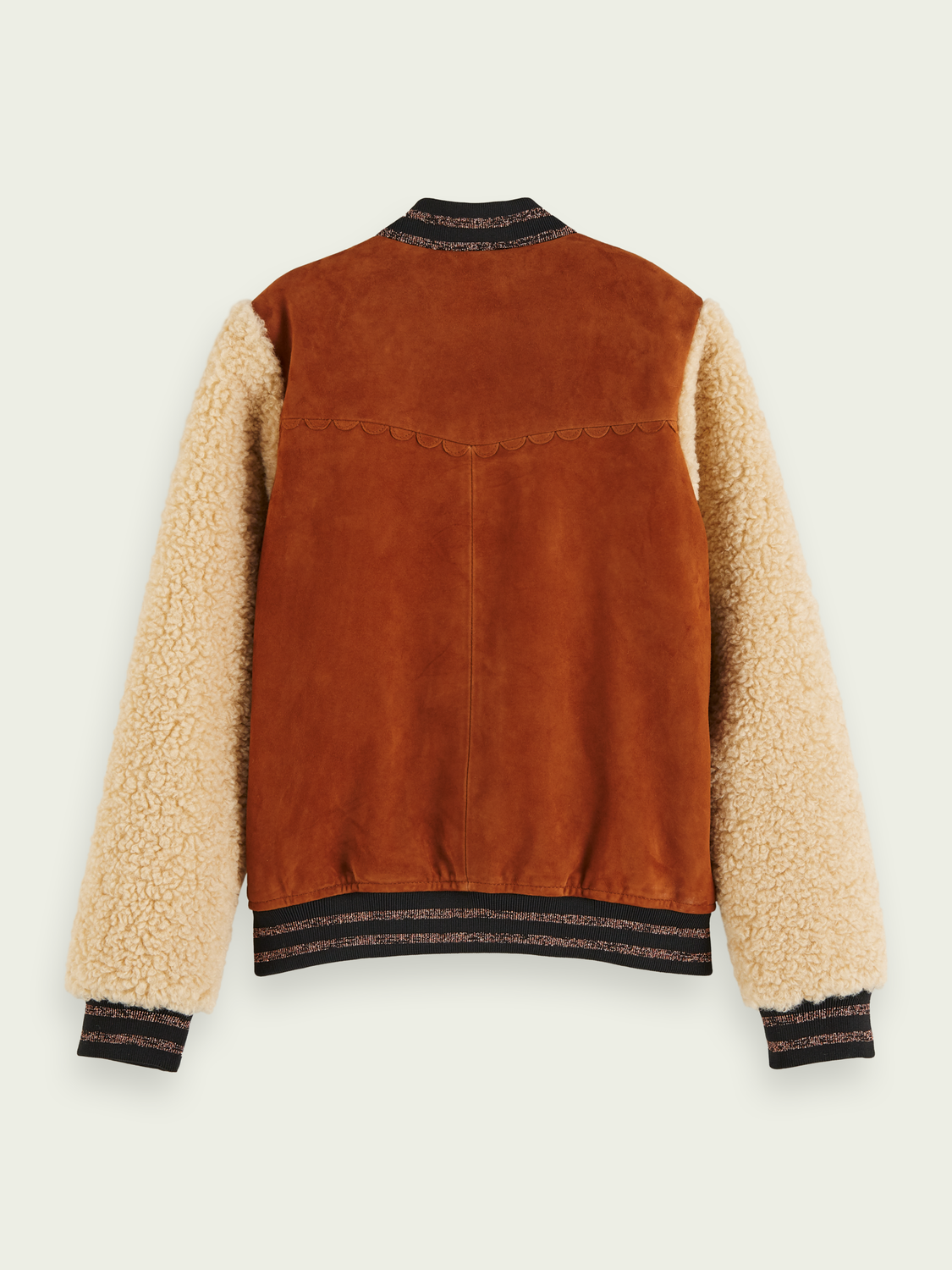 Kids Embroidered suede-teddy bomber jacket