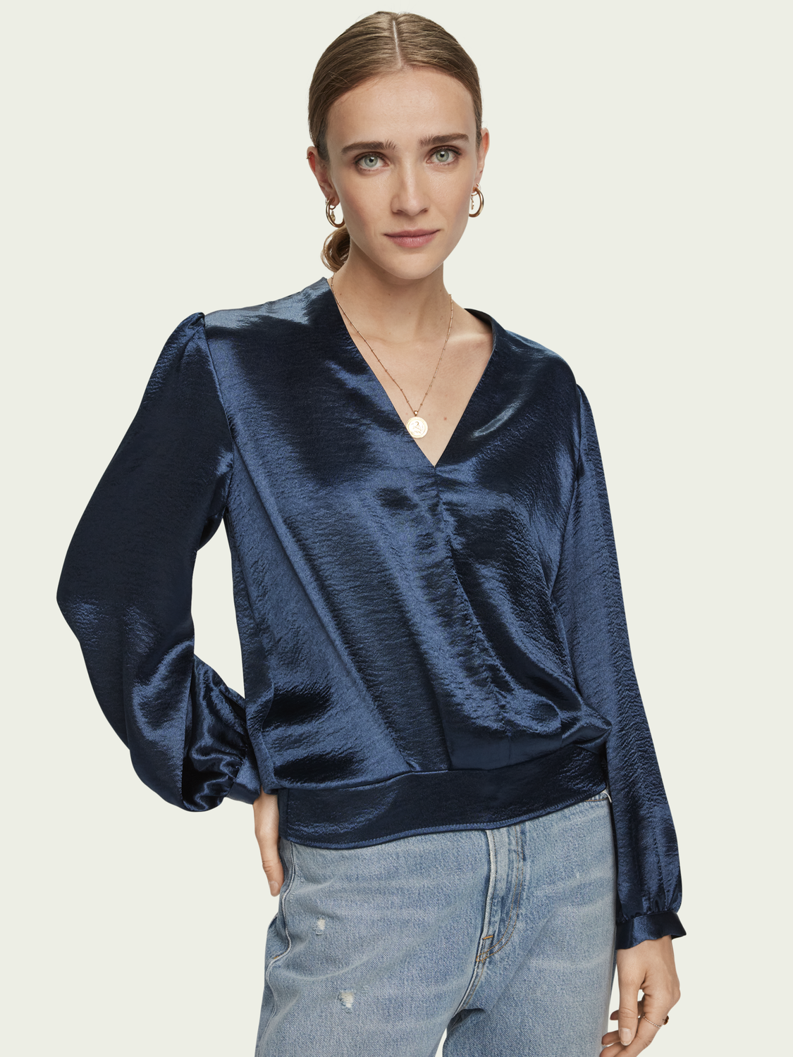 Women Satin feel long sleeve V-neck top