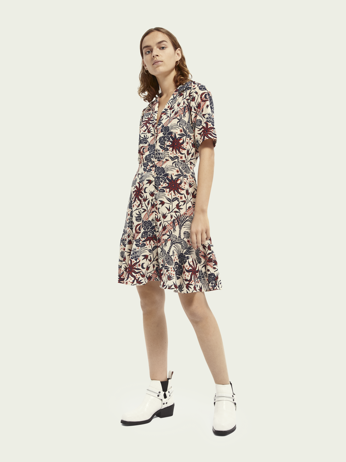 Women Short sleeve printed button up mini dress