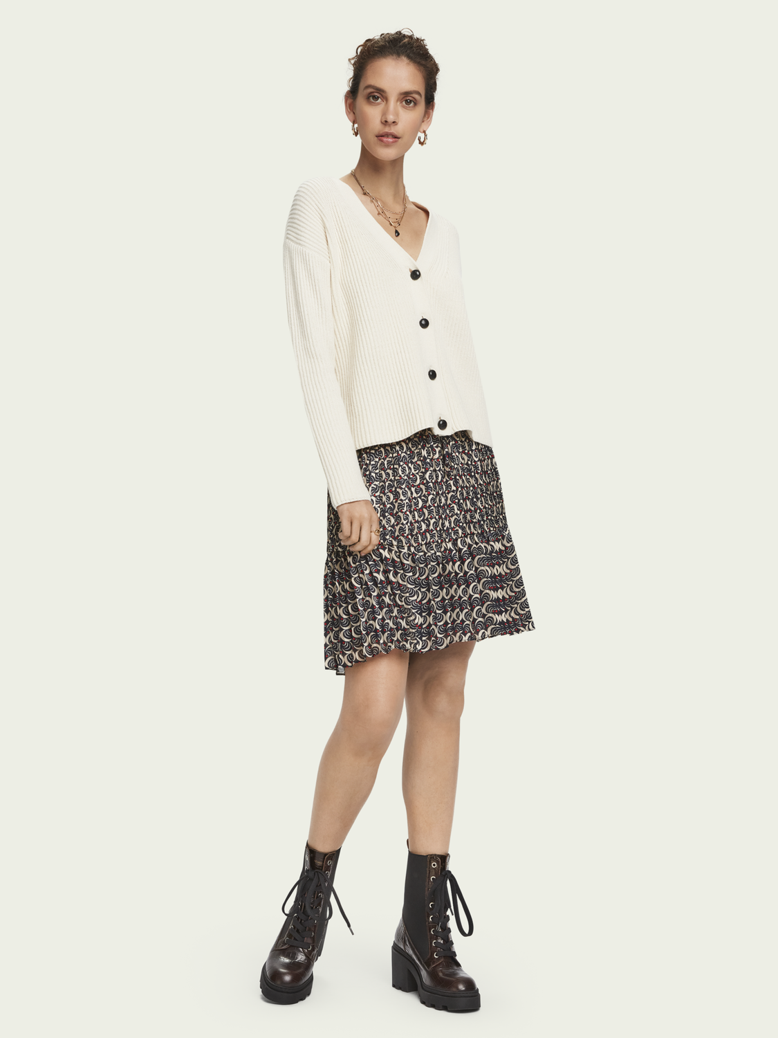 Women Pleated mini skirt with all-over print