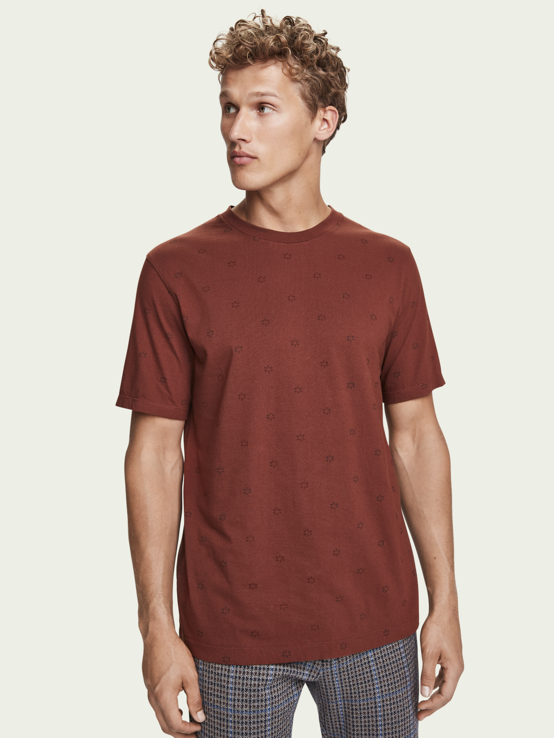 Heren 100% cotton short sleeve crewneck t-shirt