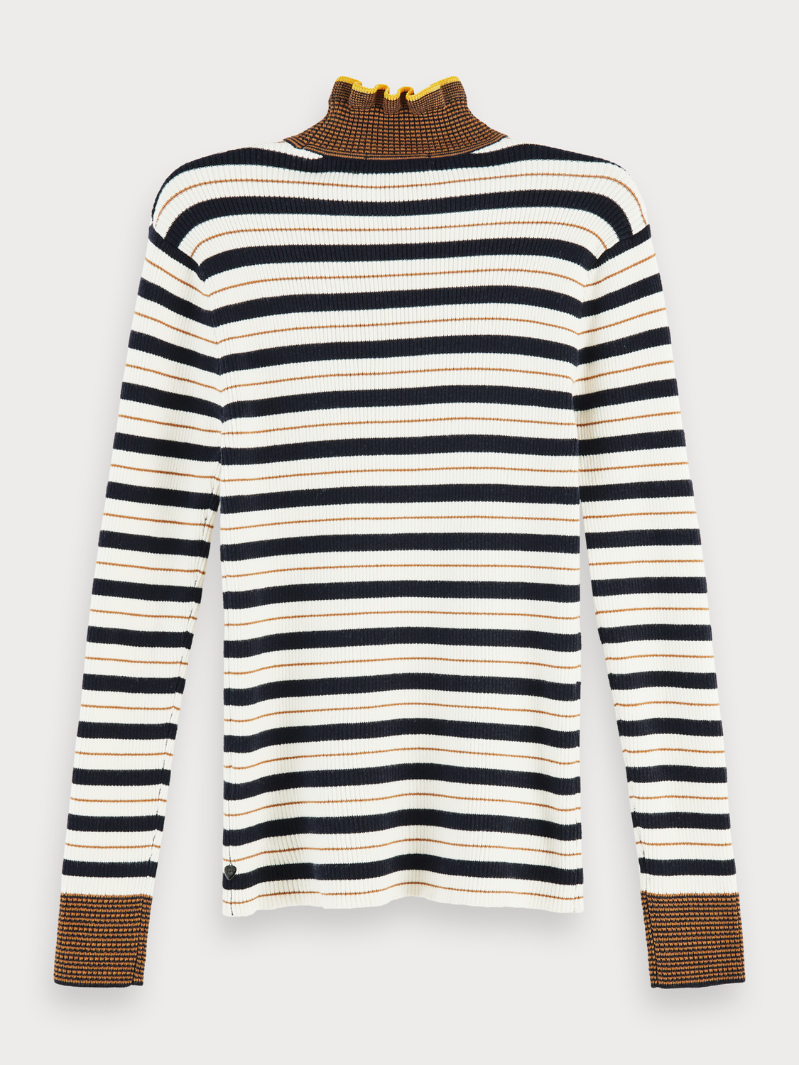 Damen 100% cotton striped rib knit turtleneck