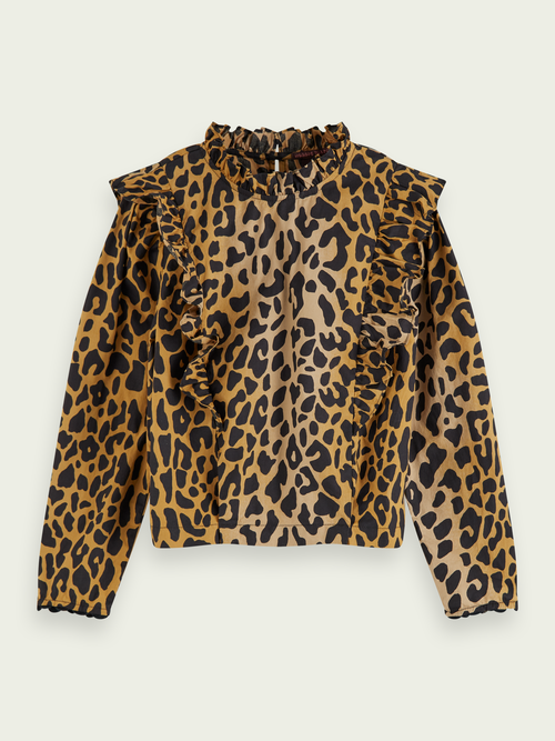 Scotch & Soda ANIMAL PRINT RUFFLE TOP 100% COTTON