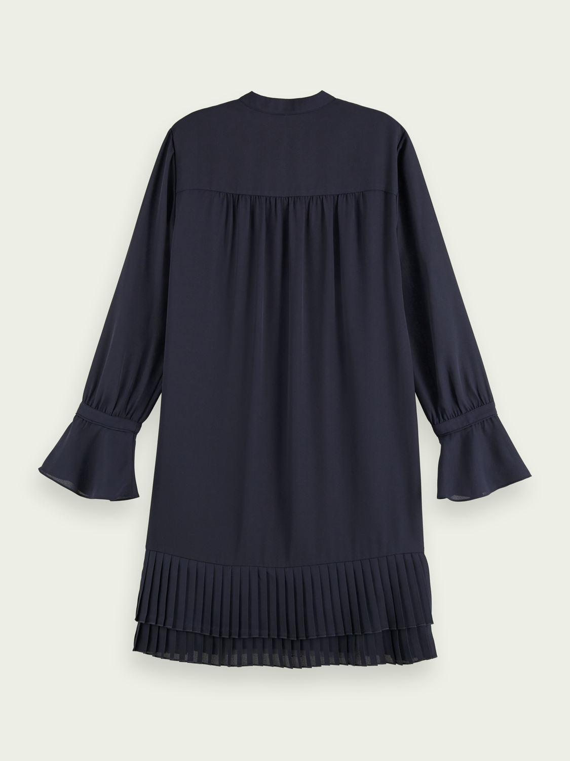 Women Pleated hem long sleeve mini dress