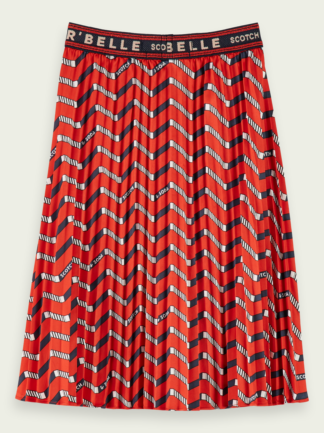 Kids Pleated zig zag print maxi skirt