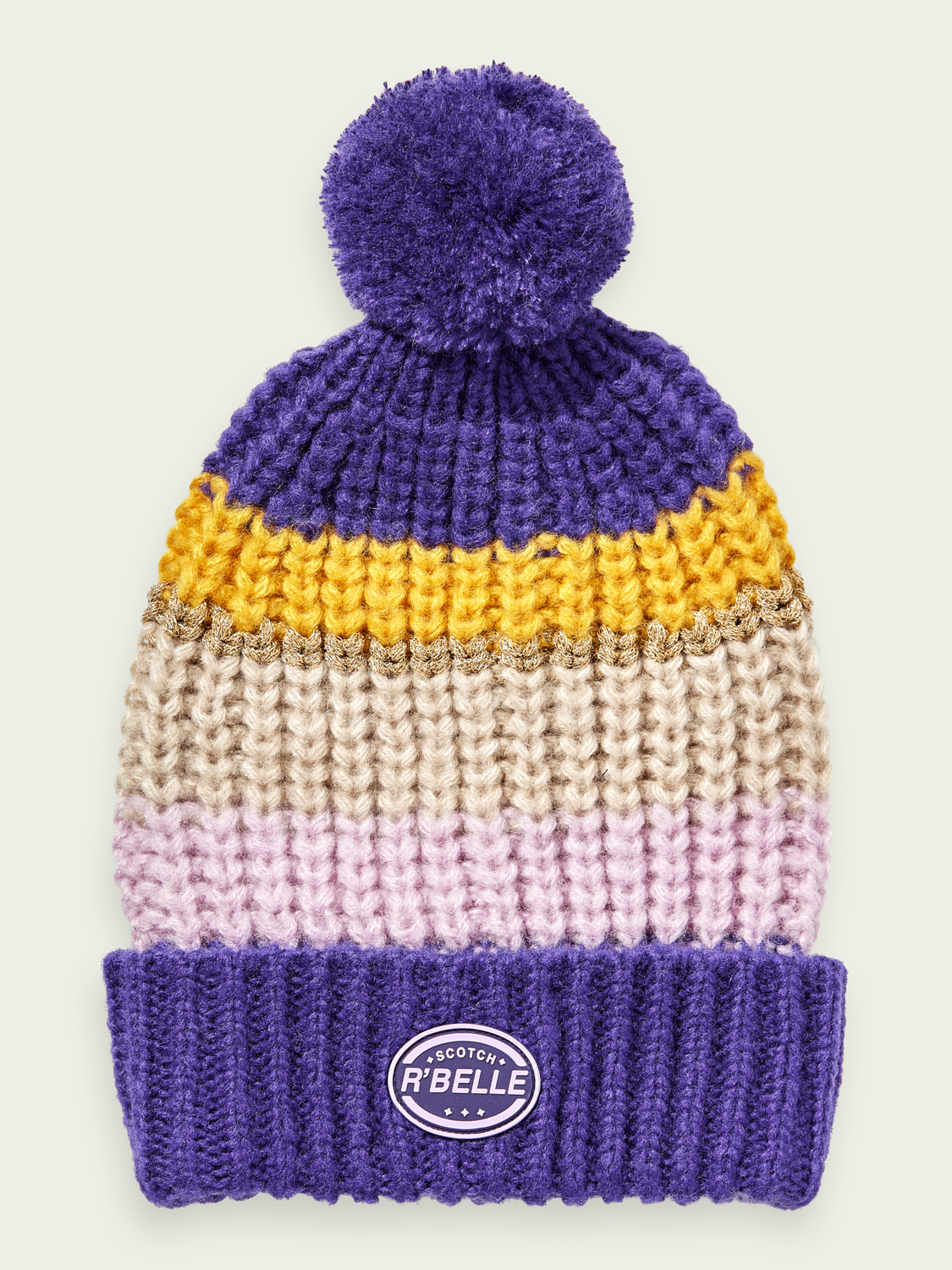 Kids Chunky wool-blend colour block beanie
