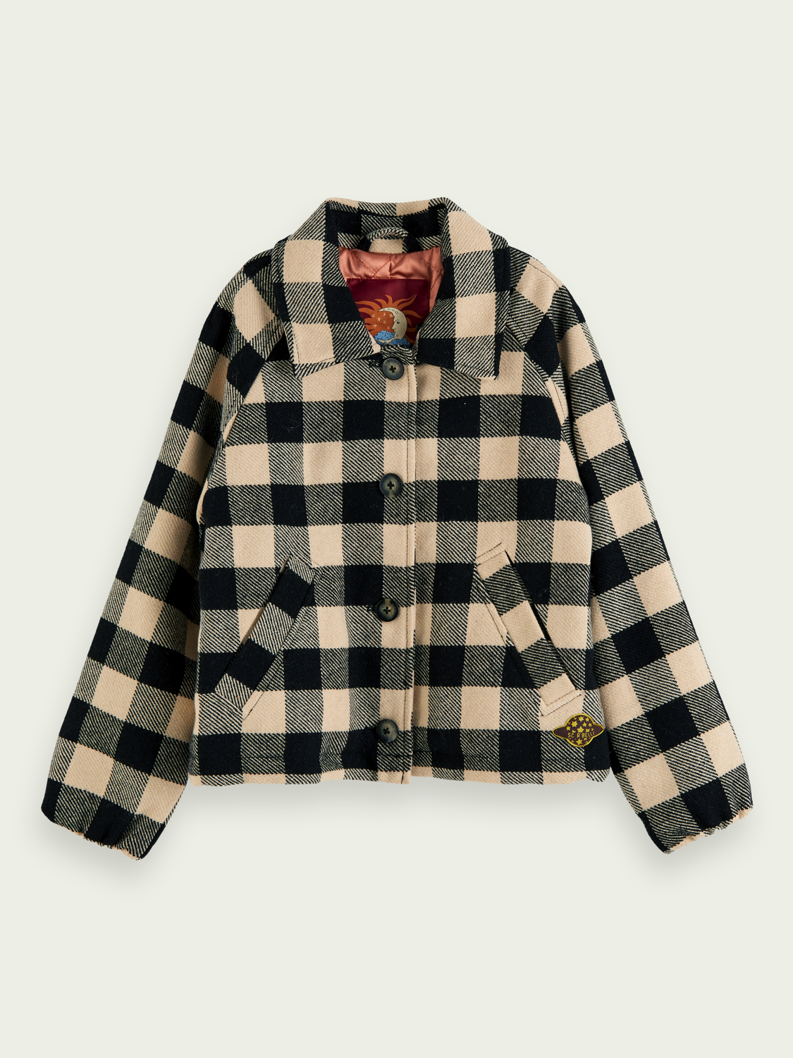 Girls Checked coat with detachable teddy collar