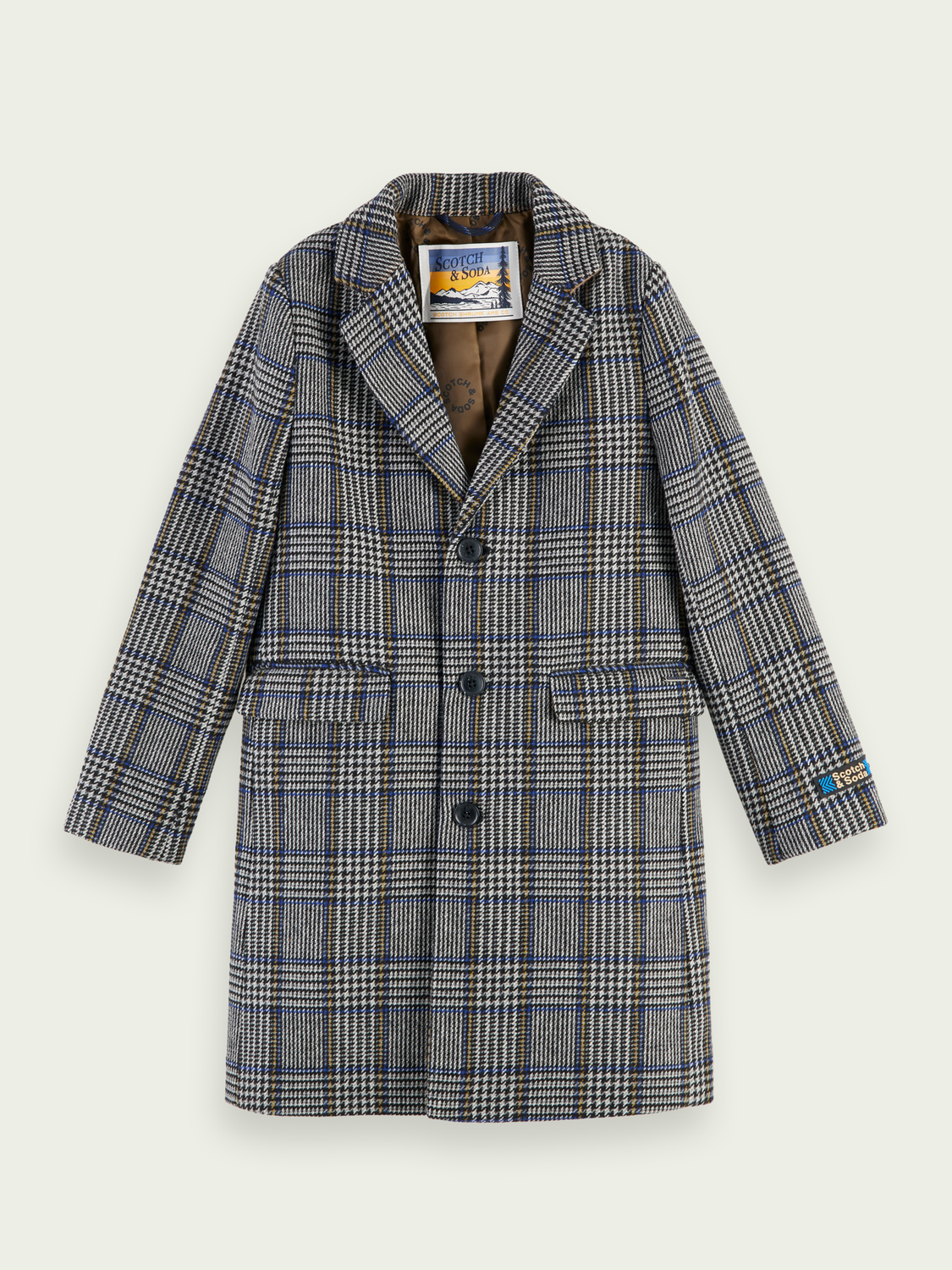 Kids Wool-blend long sleeve checked coat