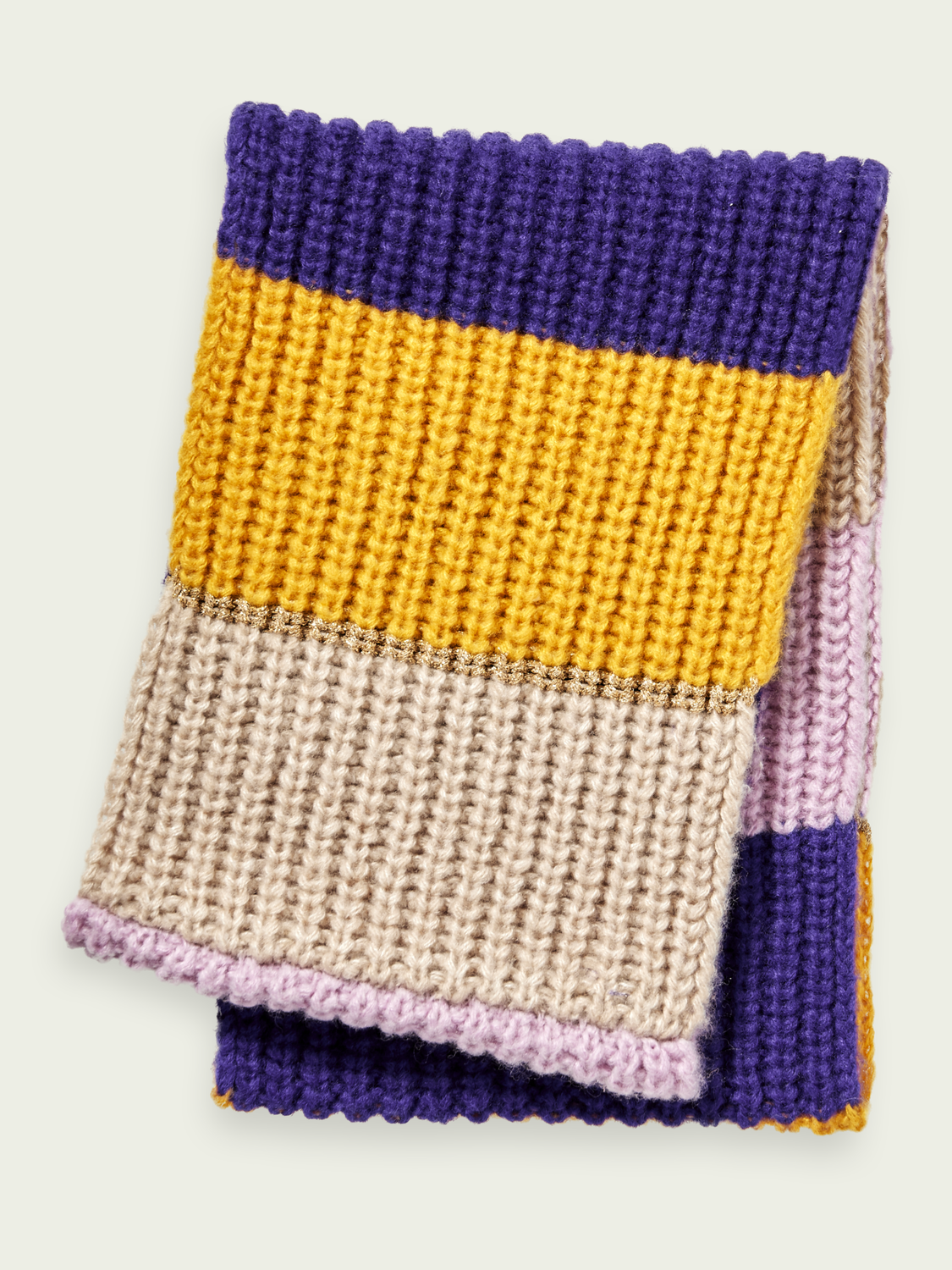 Kids Chunky knit wool-blend colour block tunnel scarf