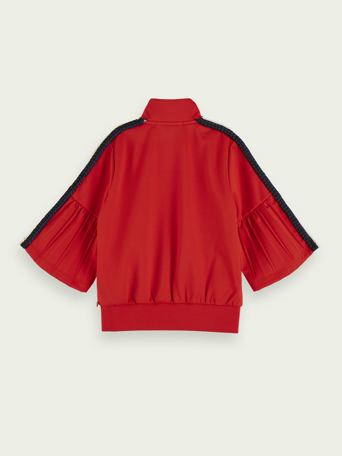 Kids ¾ sleeve pleated zip up sweatshirt