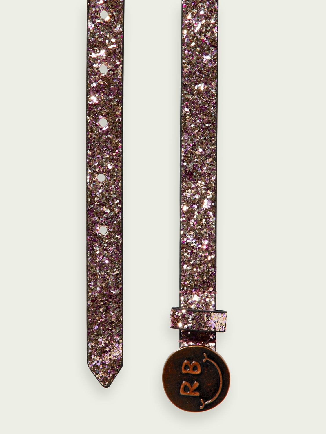 Girls Glitter belt with happy face buckle