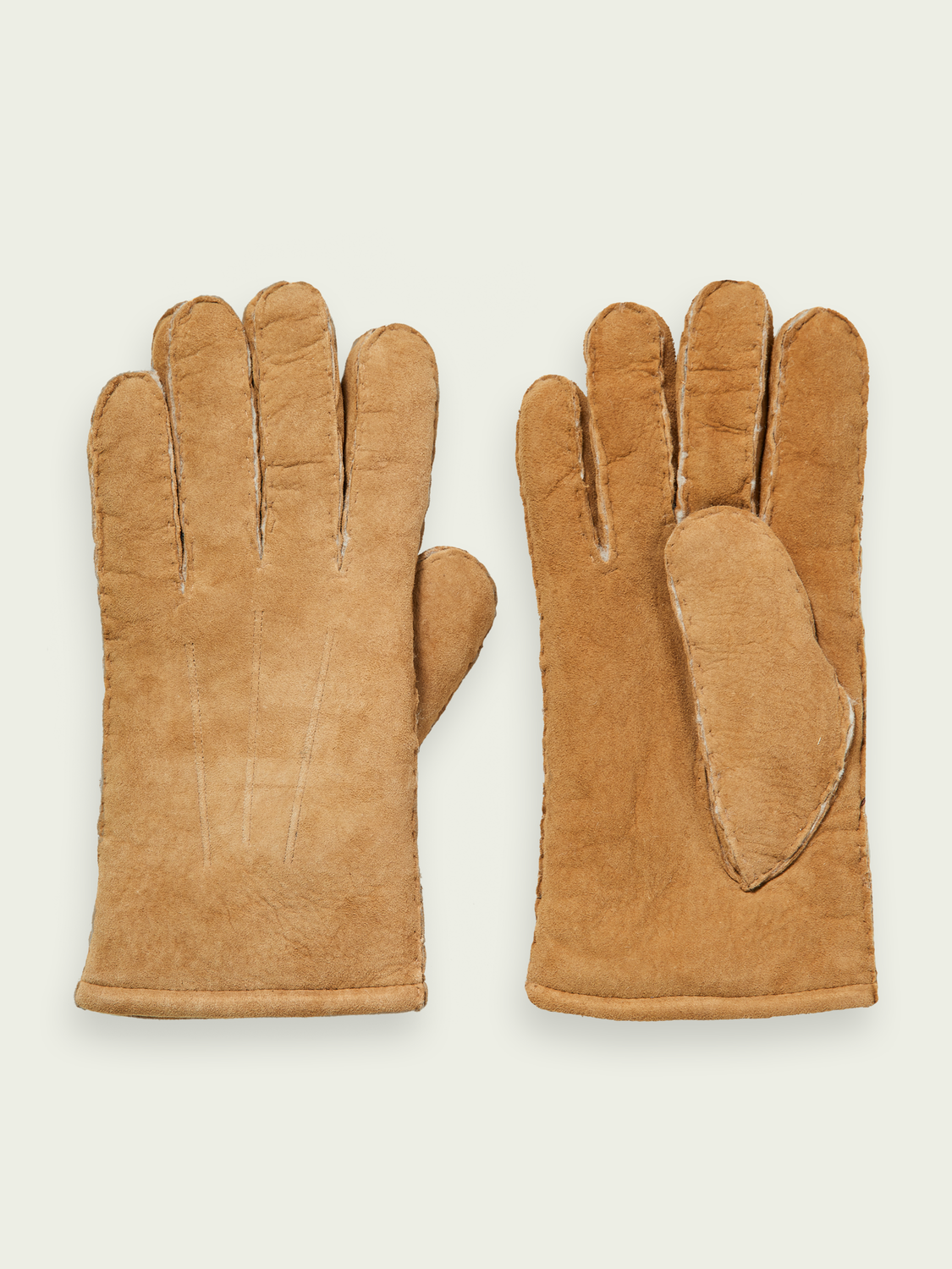 Men Sherpa-lined suede gloves