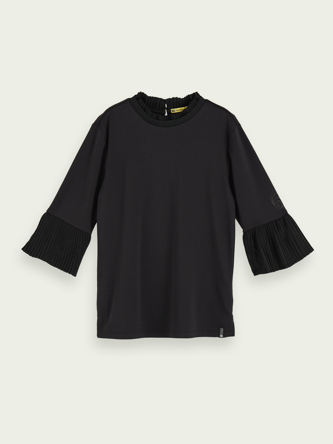 Girls Pure cotton pleated sleeve t-shirt