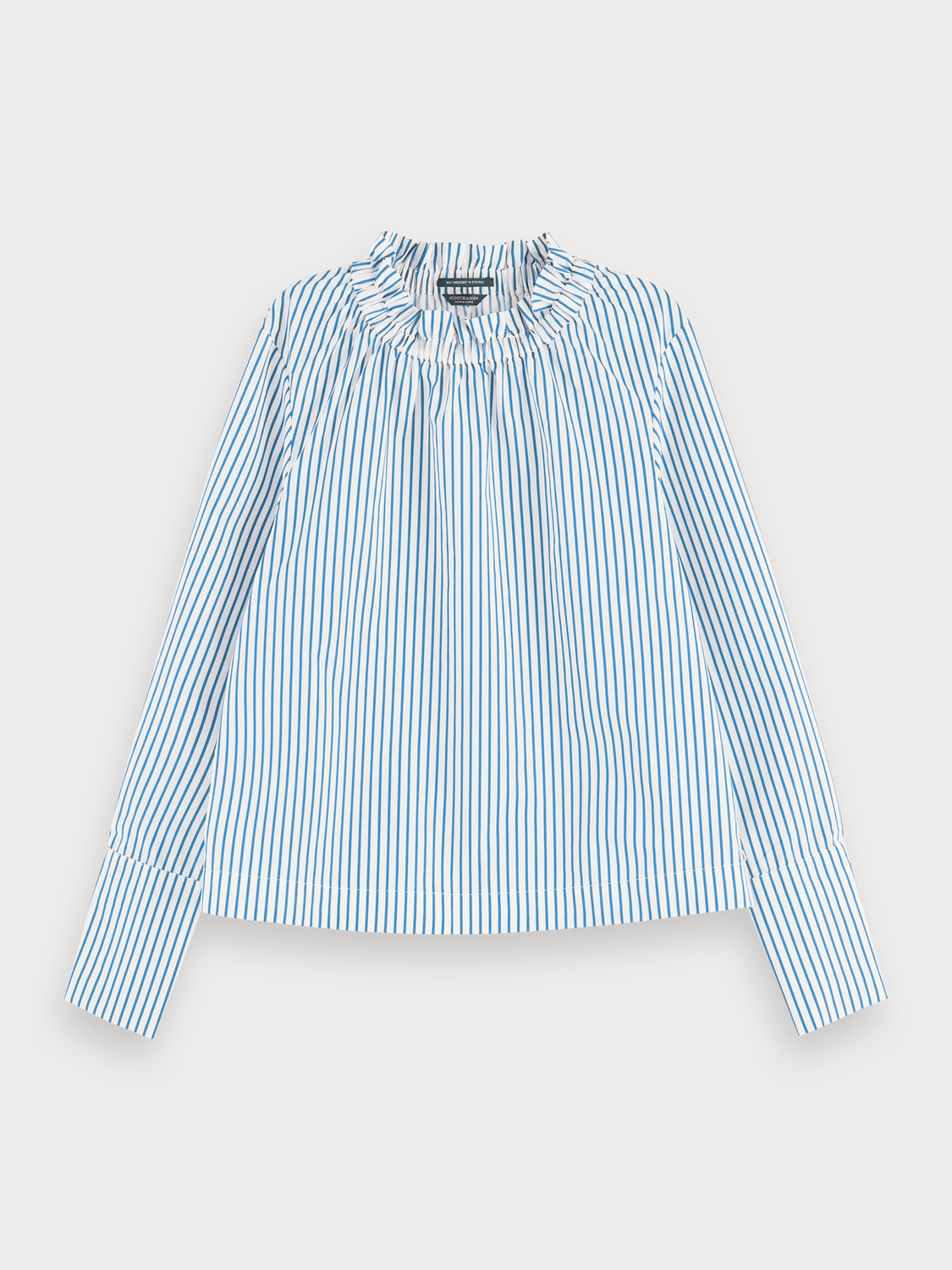 Women Cotton -blend long sleeve top with gathered collar