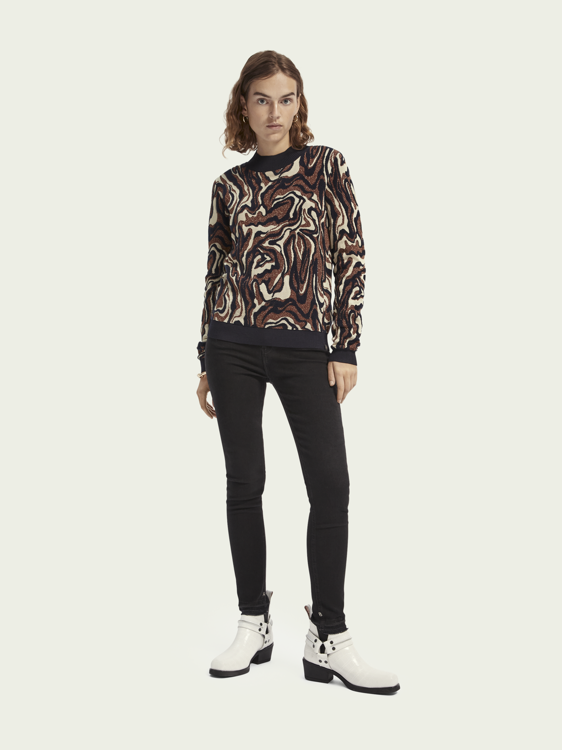 Women Long sleeve cotton-blend jacquard knit pullover