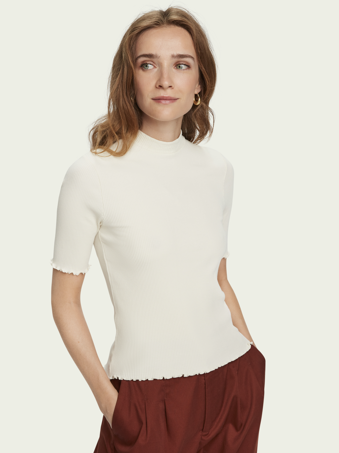 Women Stretch rib knit high neck t-shirt