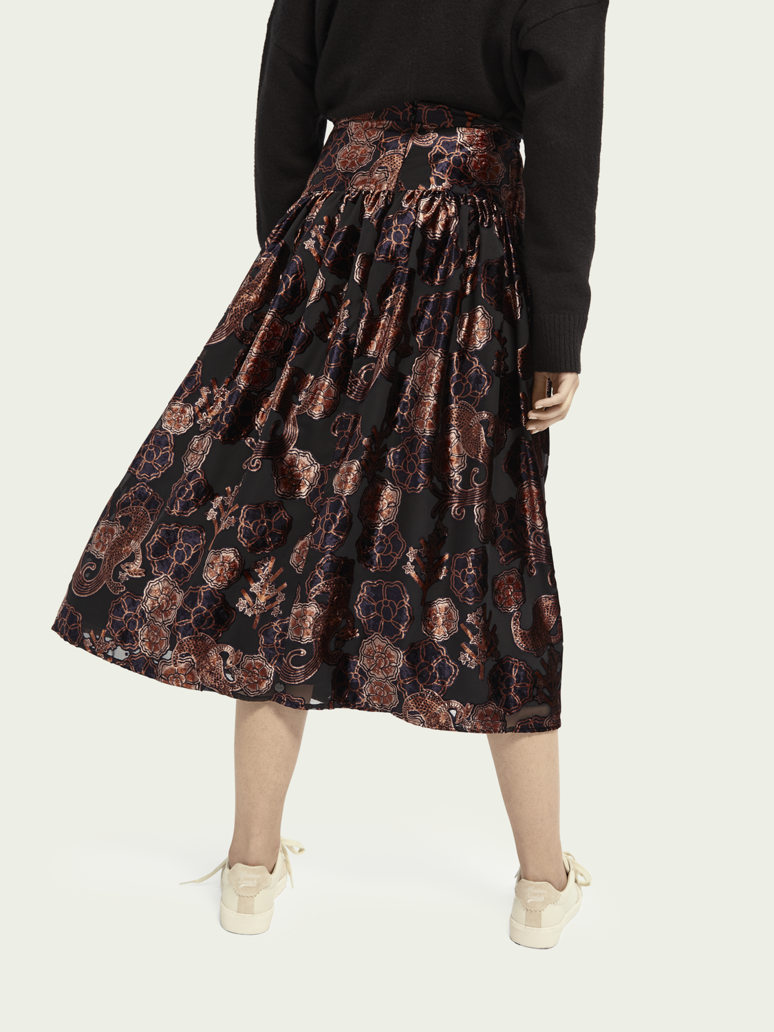 Women High-rise velvet midi skirt