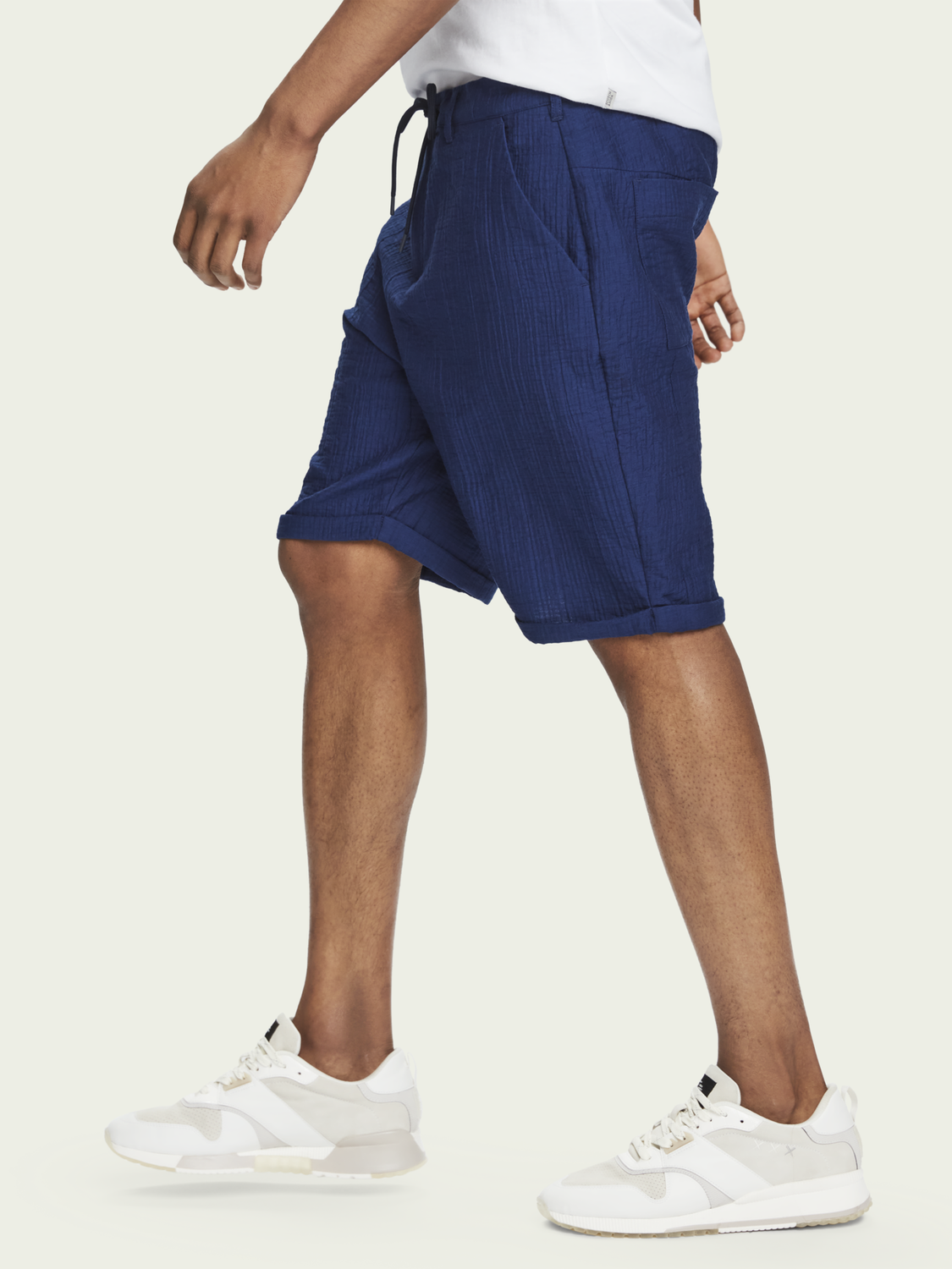 Men Mid-rise cotton-blend Sashiko travel shorts