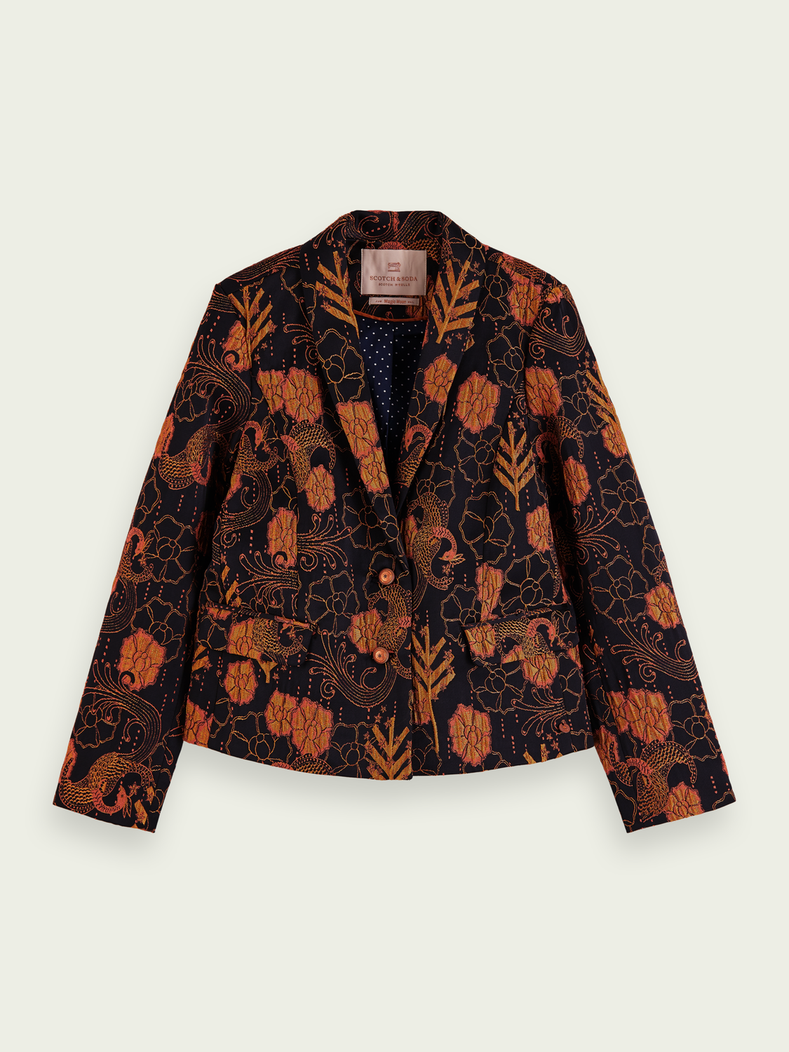 Kids Single-breasted jacquard blazer