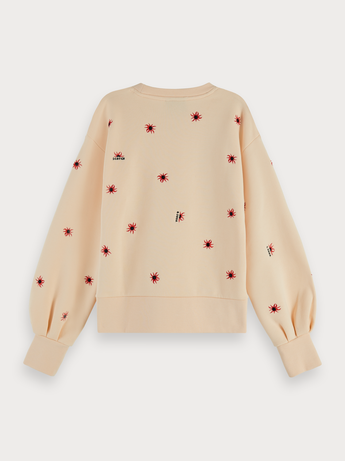 Mujer Cotton blend embroidered puff sleeve sweatshirt